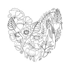 Vector illustration of a floral frame in the shape of a heart