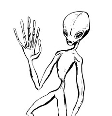 Illustration of an alien waving with one hand