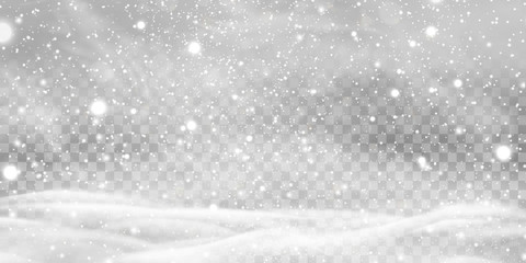 Falling Christmas Shining transparent beautiful, little snow with snowdrifts isolated on transparent background. Snowflakes, snow background. Heavy snowfall, snowflakes in different shapes and forms. Wall mural
