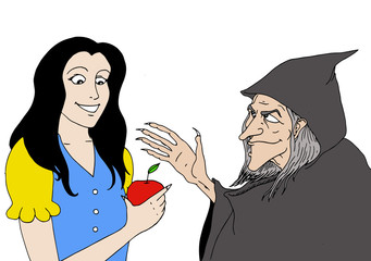 Realistic illustration of a scene of Snow White in which the witch offers a poisoned apple Fotomurales