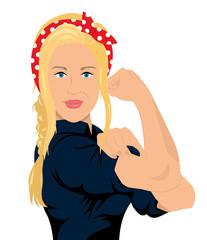 Frauenpower We can do it Flat Design isoliert auf weißem Hintergrund
