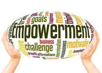 Empowerment word cloud hand sphere concept