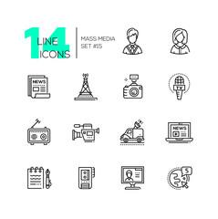 Mass media - modern single line icons set