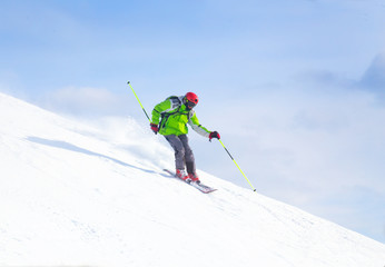 Man skiing  in the mountains