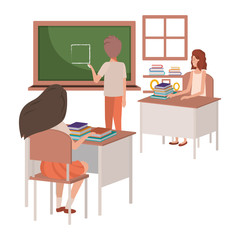 teacher in classroom with students avatar character