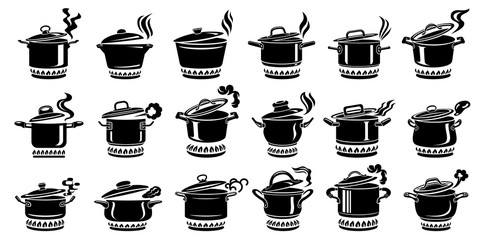 Cooking saucepan steam icon set, simple style