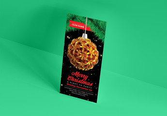 Christmas Party Flyer Layout with Golden Ornament