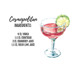 Cosmopolitan cocktail watercolor illustration with ingridients list, isolated on white background. For menu design, books and promo materials