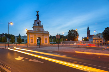 Cityscape of Bialystok with traffic lights, Poland