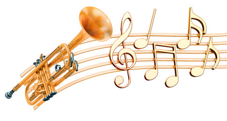 Trumpet with music notes. Musical concept, 3d rendering