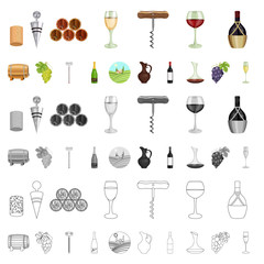 Wine products cartoon icons in set collection for design. Equipment and production of wine vector symbol stock web illustration.
