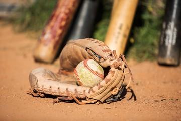 baseball glove and a ball