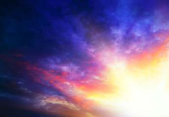 Light from sky . Religion background . Abstract big explosion .  background sky at sunset and dawn  . Rays of light through clouds . Beautiful sky .