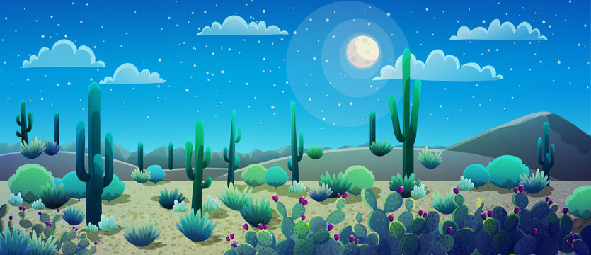 Desert landscape at nignt with cactus and bushes, starry sky and bright moon.Vector illustration.