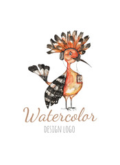 Watercolor logo template with bird hoopoe. Colorful bird in watercolor technique. Cute illustration for cards, prochures.