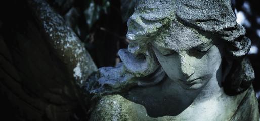 Fototapete - Death. Angel. Ancient sculpture. (pain, fear, future, the end concept)