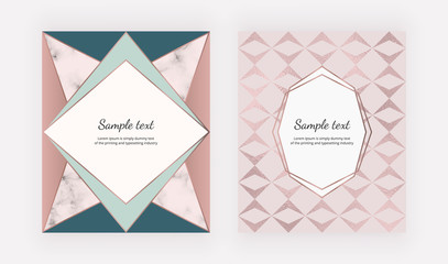 Fashion geometric covers design. Pink triangular shapes with rose gold foil texture. Template for card, flyer, placard, party, social media, invitation, birthday, wedding, banner, poster