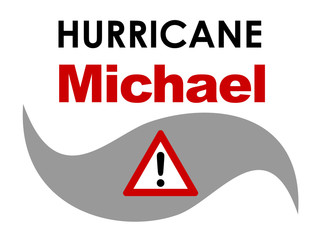A graphic illustration of Hurricane Michael with text. Hurricane Michael was a tropical storm that formed in October 2018 in the Atlantic Ocean, that approached Florida in the United States.