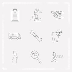 Set of anatomical icons line style symbols with medical record, hiv ribbon, pills and other icons for your web mobile app logo design.