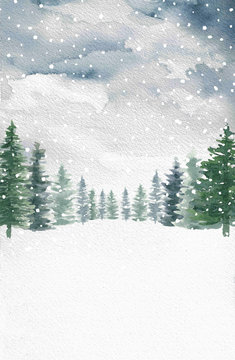 Watercolor Winter Snow Pine Trees Background
