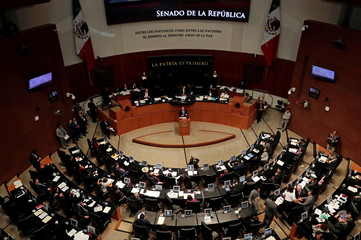 Mexico's Foreign Minister Luis Videgaray gives a speech to senators during a plenary session of Mexico's Senate in Mexico City