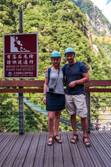 Caucasian couple with helmet at Taroko Gorge National park