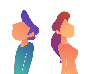 Businessman and woman standing back to back vector illustration.