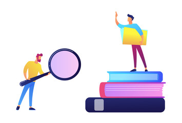 Student with magnifier and student standing on stack of books vector illustration.