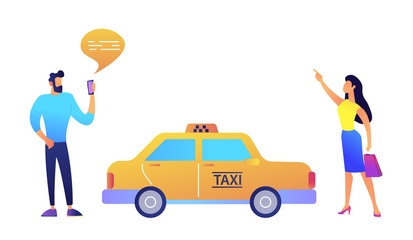 Businessman ordering a taxi from smartphone and businesswoman catching it vector illustration.
