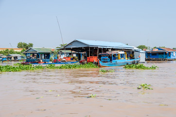 Floating village on the Tonle Sap Lake in Cambodia