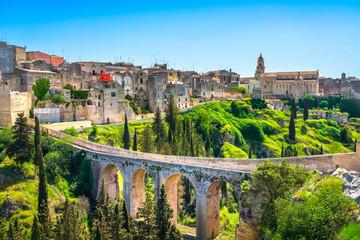 Gravina in Puglia ancient town, bridge and canyon. Apulia, Italy.
