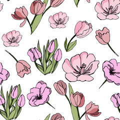 Abstract botanical seamless texture with tulips