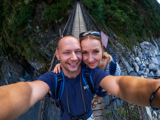 Caucasian couple at Taroko Gorge National park
