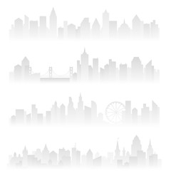 Horizontal header banners of foggy urban city with skyscrapers in haze. Soft grey vector illustration.