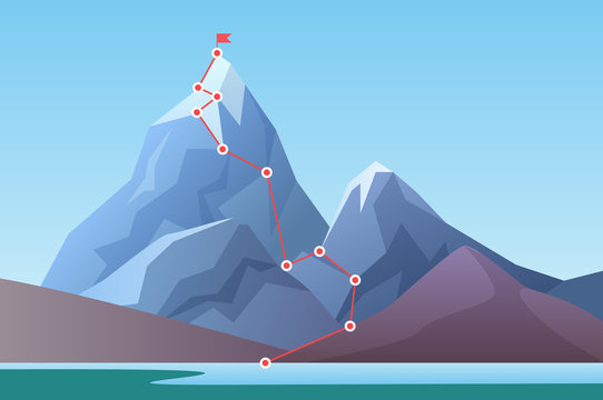 Mountain climbing route to peak. Business progress motivation, discipline and success target concept vector illustration. Cartoon mountain peak, climbing route to top of rock.