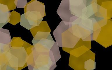 Printed roller blinds Geometric animals Multicolored translucent hexagons on dark background. Orange tones. 3D illustration