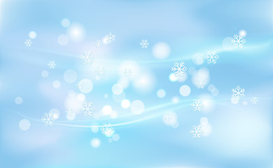 Chaotic blur for Christmas, New Years, bokeh of light snowflakes on background blue. Vector illustration for design and decorating