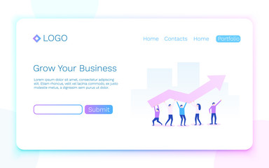 Grow your business. Teamwork and success concept. Landing page concept. Vector illustration