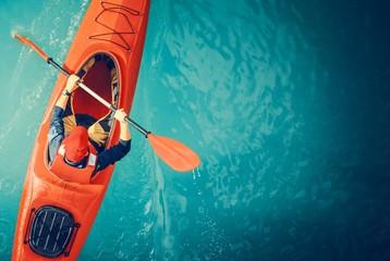 Kayaker Lake Tour Aerial