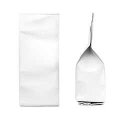 Realistic vertical bag. Packaging from different angles. Front and side view. Vector illustration isolated on white background. Ready for  your design. EPS10.