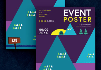 Event Flyer Layout with Camping Illustrations