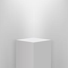 Fototapeta Product presentation podium, white stage, Empty white pedestal, blank template mockup. vector obraz