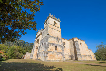 corner of church of Saint Martin de Tours, colonial baroque style monument from 1768, in Ciguenza, Alfoz Lloredo, Cantabria, Spain, Europe