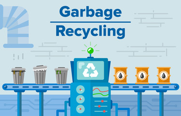 Garbage recycling process concept flat vector illustration