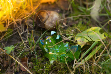 Glittering green magical crystals in the forest
