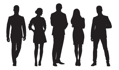 Business men and women, group of people at work. Isolated vector silhouettes Wall mural