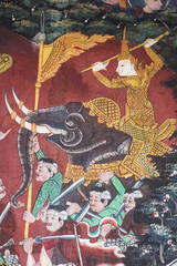 The murals are beautiful and in Thai temples.