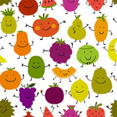 Funny fruits, seamless pattern for your design