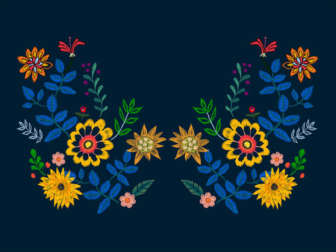 Embroidery neckline pattern with ethnic flowers. Vector embroidered floral design for fabric.