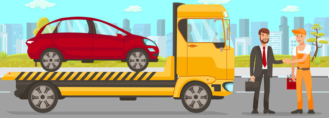 Tow Truck and Driver Services. Vector Illustration